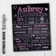 Heart Birthday Chalkboard Poster Sign by OctoberSkiesDesigns