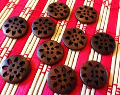 Reddish brown wood buttons sew through matching by ZipperIsland