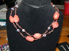 Cherry Quartz Wire Work Copper Necklace 18. $29.99, via Etsy. Unique Handcrafted Jewelry created by me. :)  Created from beads, wire, ribbon, and charms.  <3  Creative, interesting, and fun to wear!