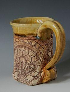 Lace Impressed 12oz Mug by blueheronpottery on Etsy, $30.00