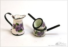 Ковшики -how to: faux enamel kitchenware for doll house Z