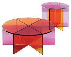 Multi color glass tables @GARY YANG.