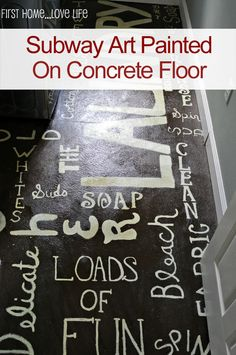 Subway Art Painted Laundry Room Floor With How-To Tutorial  gonna do somthing like this in the garage