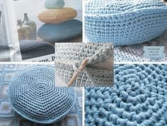 Crocheted pillows using fabric.