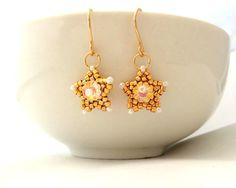 Gold Beaded Earrings / Beaded Earrings / Beaded by Ranitit on Etsy