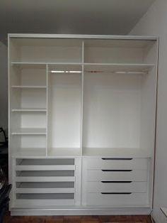 Ikea closet apartment pax wardrobe Ideas - Home Decor -DIY - IKEA- Before After Bedroom Closet Storage, Ikea Closet, Master Bedroom Closet, Wardrobe Design Bedroom, Bedroom Wardrobe, Wardrobe Closet, Bedroom Cupboard Designs, Bedroom Cupboards, Ikea Cupboards