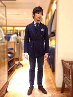 【画像まとめ】おしゃれすぎるビームスF西口修平コーディネート Mens Fashion Suits, Mens Suits, Navy Jacket, Suit Jacket, Asian Suits, Dark Denim Jeans, Business Fashion, Business Style, Tailored Suits