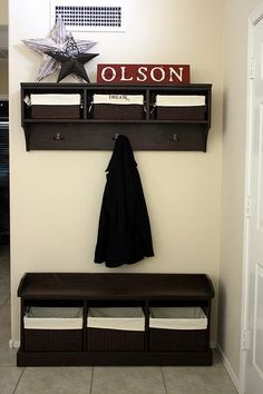 DIY detailed how to:  Entryway Bench and Storage Shelf with Hooks.  We've been shopping around for one, but they are so expensive.  One blogger that tried just the bench says she spend only 60 on materials at Home Depot.