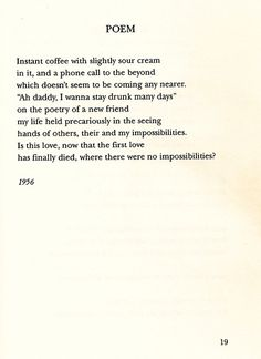 Poem by Frank O'Hara.