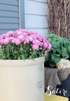 Fall Front Porch Decorating Ideas - Purple Garden Mum in a Vintage Crock