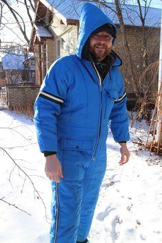 f1cbb3fc Vintage Snowsuit JC Penny Snowmobile Suit One Piece Men's Medium M 38-40  Blue | eBay