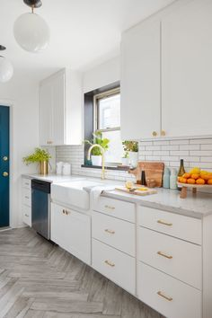 Subway tile with a gray grout calls attention to the architectural details of the room.