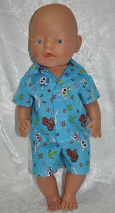 Dolls Clothes for 17  Baby Born Dolls ~ Reborn Dolls ~ Summer Pj s Blue Pirates