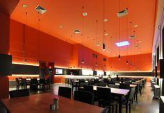 Restò Rouge  Ciné Noir: an effective double project integrating a restaurant and a movie theatre by Kalhöfer-Korschildgen #RestaurantDesign #ArchiJuice #hospitalitydesign