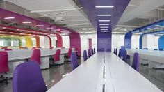 Modern Office Interior Design with Bright Color Decorating