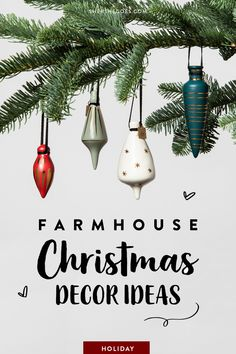 Lots of farmhouse christmas decor ideas for the holiday season! From rustic ornaments to simple christmas dinner party invitations, we've got lots of suggestions to decorating for the winter holidays. Rustic Christmas Ornaments, Farmhouse Christmas Decor, Simple Christmas, Christmas Tree Decorations, Holiday Decor, Farmhouse Interior, Rustic Farmhouse, Dinner Party Invitations, Winter Holidays