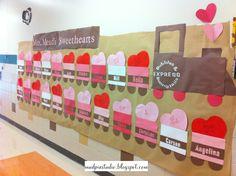 Valentines Day bulletin board #school #classroom