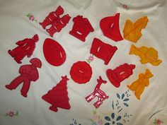 Vintage Cookie Cutters Lot Red Plastic Retro Nursery Rhyme Holiday Rare Yellow Plastic Cutters and Others by suburbantreasure on Etsy