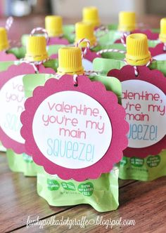 Valentine You're My Main Squeeze. Googoo Squeeze Valentine and Printable. 20 Frugal DIY Kids Valentines on Frugal Coupon Living. Apple Sauce Valentinen