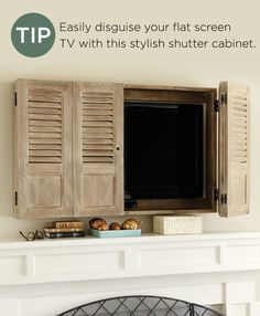 In the pages of our catalog, you've probably noticed the tips we include for design inspiration. Here's a roundup of all the tips from our Holiday 2014 catalog. Tv Wall Cabinets, Bedroom Cabinets, Tv Cover Up, Tv Escondida, Outdoor Tv Cabinet, Tv Over Fireplace, Hidden Tv, Framed Tv, Home Tv