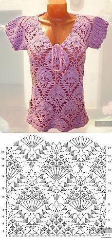 Красивый узор крючком для летней кофточки / Вязание крючком / Женская одежда крючком. Схемы.