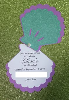 Under the sea clam invitations Perfect for a little mermaid party, under the sea party, etc. Measures: 4.5 x 4.5 when folded 9 X 4.5 when