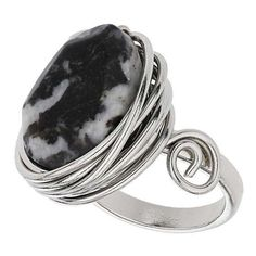 TOPSHOP Jasper Wrap Stone Ring (€17) ❤ liked on Polyvore featuring jewelry, rings, black, stone rings, zebra print jewelry, wire wrapped rings, wrap ring and kohl jewelry