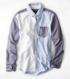 Blue AEO Colorblocked Button Down Shirt