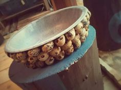 Ciotola porta oggetti ricoperta di uova di quaglia