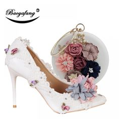 BaoYaFang New Pointed Toe Women Wedding Shoes with Matching Bags Bride High  Shoes Thin Heel Ladies Pumps and Purse Set - Vicky Lim Beauty 31e82fb0ab47