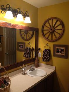 Framed the boring construction grade bathroom mirror. #DIY