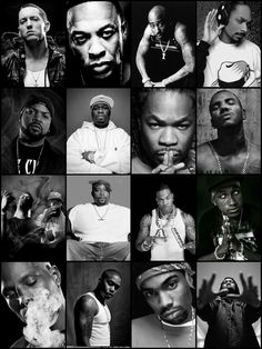 Eminem, Dr. Dre, Tupac, Snoop Dogg, Ice Cube, 50 Cent,  Xzibit, Game, Method Man, Redman, Busta Rhymes, Hopsin, DMX, Obie Trice and more..