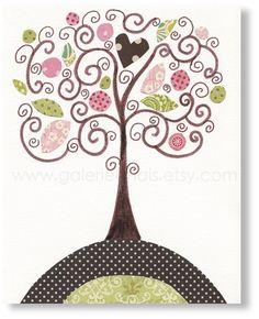 Nursery art prints, baby nursery decor ,kids wall art, nursery print, kids art, kids room decor, Baby room decor,  Magic Tree from Paris. $14.00, via Etsy.