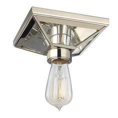 Hall Light: Thurston Polished Nickel One-Light Semi Flush Light Fixture