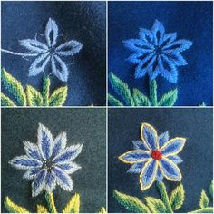 Scandinavian Embroidery, Folk Embroidery, Needlepoint, Norway, Iris, Sewing Crafts, Diy And Crafts, Textiles, Knitting