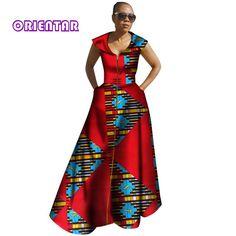 2018 African Dresses for Women Bazin Riche Sleeveless Vestidos Long Dresses Dashiki Kanga Ankara African Women Clothes African Dresses For Women, African Print Dresses, African Print Fashion, Africa Fashion, African Attire, African Wear, African Fashion Dresses, African Women, African Outfits
