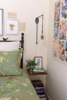 floating shelf as a nightstand - awesome light fixture
