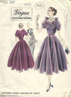 1951 Vintage VOGUE Sewing Pattern B30 DRESS (1428) #Vogue