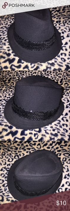 Black women's Fedora Hat with sequin detail Gently used black fedora with sequin trim (from Target) Accessories Hats