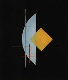 László Moholy-Nagy, Blue field, red cross and yellow cube, 1923
