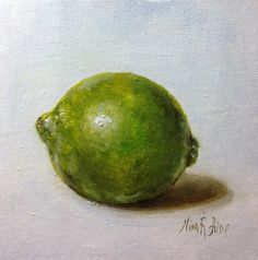 SOLD Lime Original Oil Painting by Nina R.Aide. Still Life. 6x6 inches canvas. NinaRAideStudio. Available on Etsy