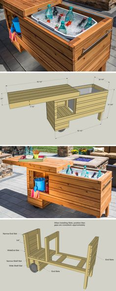 Take your outdoor entertaining up a notch with this rolling serving center. It holds a cooler plus offers shelf space for other items. The sliding top covers everything up when not in use, and it can still be used when open. Made from cedar, this project will serve you in style for years. FREE PLANS at buildsomething.com