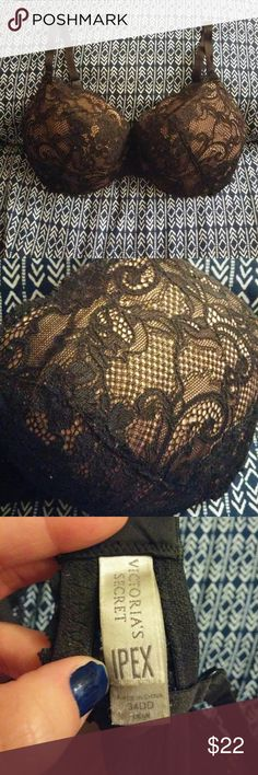 Discounted Victoria's Secret IPEX Demi Bra This is a lightly lined demi cut with lace applique over the nude bra. This is a size 34DD or can fit a 32DDD. Just grew out of this size. All lace is intact, no snags or rips. Gently worn and washed hand washed only! Victoria's Secret Intimates & Sleepwear Bras