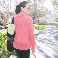 Heading to morning #yoga in our comfy-cute Evie Drawstring Sweatshirt. How are you kicking off the weekend? #namaste
