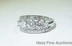 Vintage 1950s 14K White Gold Diamond 3 Row Ladies Wedding Band size 7 Ring #WithDiamonds