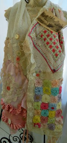 Scarf Womans Lace Collage Romantic Spring Collection by bessiee, $78.00