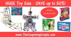 ***HUGE TOY SALE ~ SAVE UP TO 50% TODAY ONLY*** Tons of GREAT Gift Ideas including a lot of different K'NEX Sets! Prices Starting at $8.99! Click the Picture below to get all of the details ► http://www.thecouponingcouple.com/huge-toy-sale/  Use the SHARE button below the Picture to SHARE this Deal with your Family and Friends!  #Coupons #Couponing #CouponCommunity  Visit us at http://www.thecouponingcouple.com for more great posts!