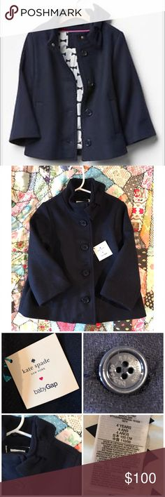 NWT! Kate Spade New York for Baby Gap Peacoat New listing! Gorgeous Kate Spade New York for Baby Gap navy peacoat. This was limited edition and sold out quickly! The lining on this is gorgeous...and the bow at the neck gives it an extra special touch. New with tags! This would make a great gift! Let me know any questions! kate spade Jackets & Coats Pea Coats