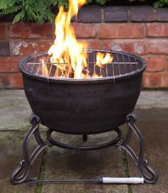 Elidir Cast Iron Fire Bowl & BBQ Grill in One!Patio Heater Fire Pit Camping Cook