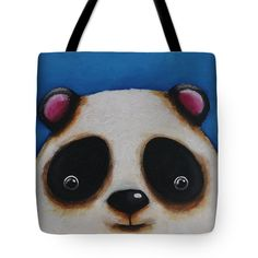 The Whimsical Bear Tote Bag featuring the painting The Panda by Lucia Stewart
